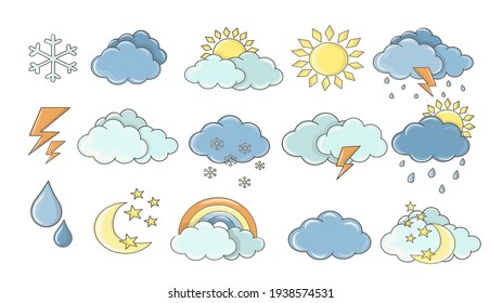 Weather set. White clouds, dew on leaves, fog sign, day and night for forecast design. Sun and thunderstorm stickers. Colourful cartoon weather icons collection.