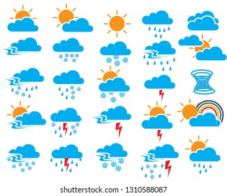 weather sign symbol set of winter, hailstone, rains, rainbow, snow, lightning, thunder, storm, heavy fog, sunshine, Natural phenomena, vector color