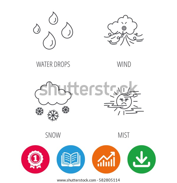 Weather, snow and rain icons. Water drops and mist linear signs. Award medal, growth chart and opened book web icons. Download arrow. Vector