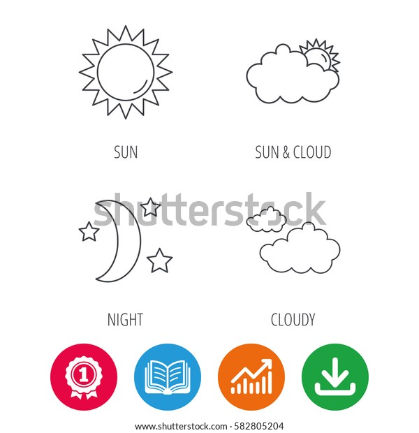 Weather, sun and cloudy icons. Moon night linear sign. Award medal, growth chart and opened book web icons. Download arrow. Vector