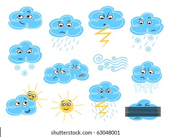 Weather symbols - colored version, vector