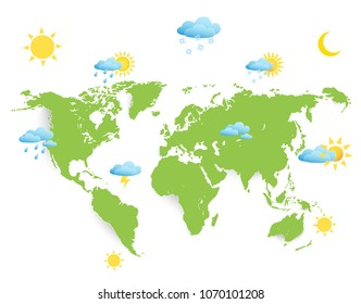 weather symbols on world map.world map on white background with shadows.