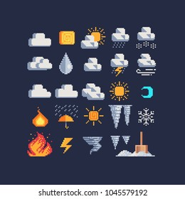 Weather symbols pixel art 80s style web icons set, rain, clouds, drizzle, wind, snow, night, day, thunderstorm, fire and sun. Design for mobile app, sticker, logo. Isolated vector illustration.