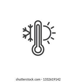 Weather temperature thermometer line icon. linear style sign for mobile concept and web design. Thermometer with sunny and freezy weather outline vector icon. Symbol, logo illustration. Pixel perfect