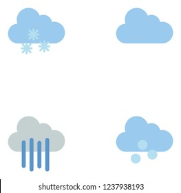 Weather, temperature thermometer, season color flat lineal icon set EPS 10 vector format. Transparent background.