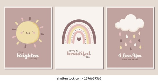 Weather themed greeting card set. Sun, rainbow, cloud, and raindrops in neutral pastel colors. Can be used for banners, nursery posters, covers, and more.