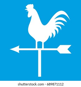 Weather vane with cock icon white isolated on blue background vector illustration