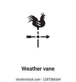 Weather vane icon vector isolated on white background, logo concept of Weather vane sign on transparent background, filled black symbol