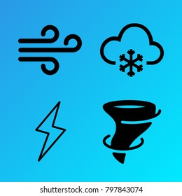 Weather vector icon set consisting of 4 icons about lightning, wind, hurricane, tornado, snow, cloudy, flash, snowy and cloud