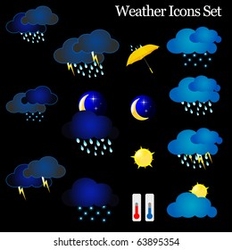Weather vector Icon set isolated on black background. Vector illustration