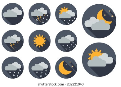 Weather vector icons. Flat design