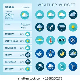 Weather Widget Illustration Icon Design Set