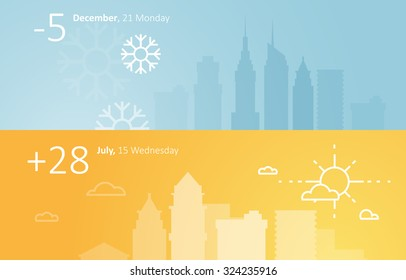 Weather widgets template winter and summer in city