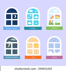 weather and window icons vector collection