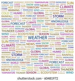 WEATHER. Word collage on white background. Illustration with different association terms.