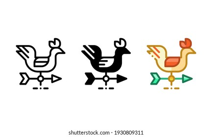 Weathercock icon. With outline, glyph, and filled outline styles
