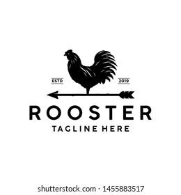 Weathercock / weather vane vintage logo. Rooster with arrow logo