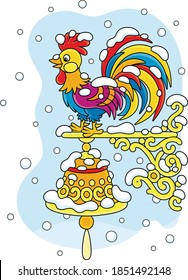 Weathercock, a weathervane in the form of a toy colorful cockerel with a ringing hand bell on a wall of a house, under snow on a cold and snowy winter day, vector cartoon illustration