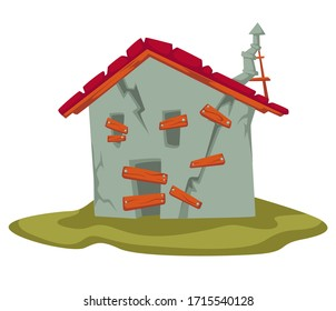 Weathered house of farmhouse with broken walls, old garage or barn. Abandoned dwelling in countryside, dirty place to live or store things. Rural area with rustic architecture, vector in flat style