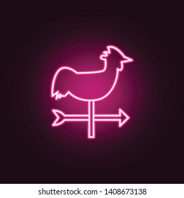 weathervane rooster neon icon. Elements of web set. Simple icon for websites, web design, mobile app, info graphics