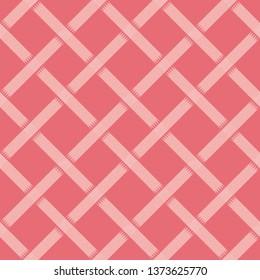 Weave basket or fence diagonal diamond design. Fully editable vector texture.