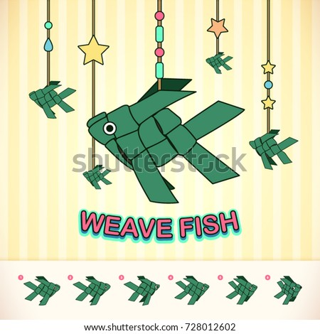 Weave Fish Banana Leaf Mobile Toy Stock Vector Royalty Free