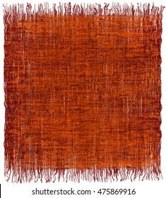 Weave grunge striped interlaced carpet with fringe in orange,brown colors