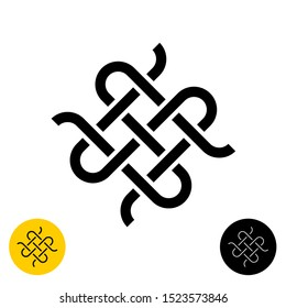 Weave knots celtic style logo. Intersected textile woven lines symbol. Adjustable line width.