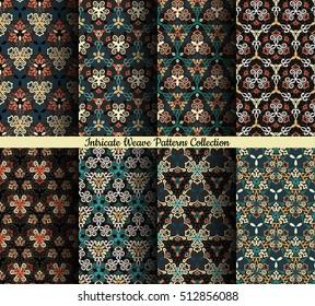 Weave seamless pattern. Colorful background. Flourish vector. Intricate luxury ornament. Dark color illustration. Decorative fabric print, furniture textile, wallpaper, pillow. Interior design element