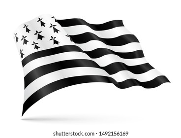 Weaving flag of Brittany, department of France. Vector realistic breton illustration isolated on white background.