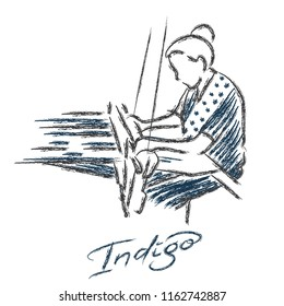 weaving logo vector. a woman hand weaving drawing.