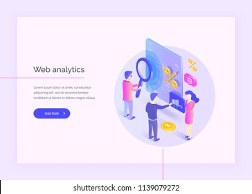 Web analysis. A group of people interact with parts of the interface. Men and women study and analyze the mobile web application interface. Profit analysis. Modern vector illustration isometric style.