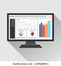 Web analytic information on Computer screen flat icon. trend graphs report concept. statistic charts for planning and accounting, analysis, audit, management, marketing, research vector illustration.