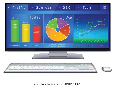 Web analytics charts, graphs and indicators of website on desktop computer screen. Dashboard of webmaster in blue design. Vector illustration, isolated on white background.
