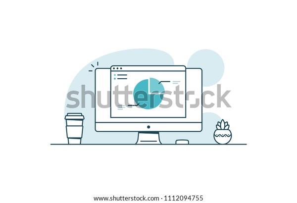 Web Analytics Computer Open Browser Diagram Stock Vector