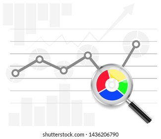 Web analytics information. Growth graph. Magnifying Glass. Analytics Elements. Vector illustration