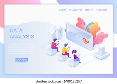 Web analytics isometric landing page vector template. Big data analysis website design layout. Usability testing and user experience 3d concept illustration. App, application development