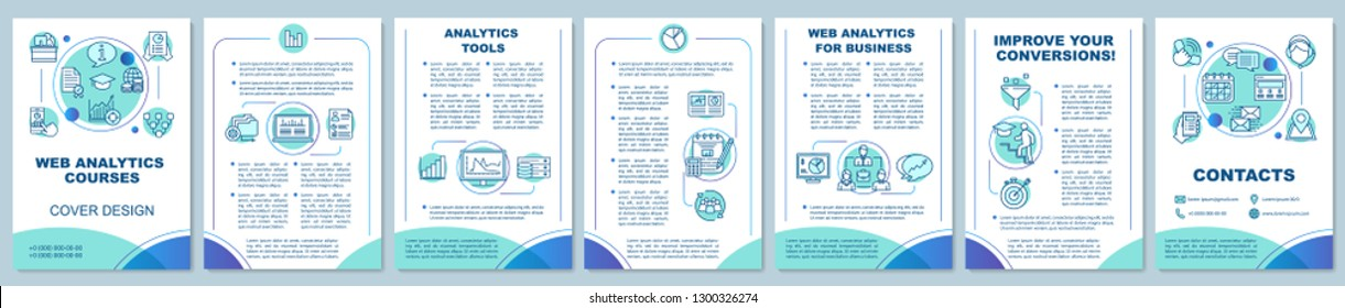Web analytics and metrics courses brochure template. Digital marketing. Flyer, booklet, leaflet print design. Website traffic statistics. Vector page layouts for magazines, reports, advertising poster