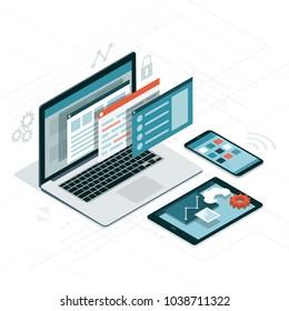 Web anf software development, coding and communication: visual interface on laptop, tablet and smartphone