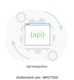 Web (API) Integration illustration, software development template sign. Application programming Interface with laptop flat line icon. Isolated vector.