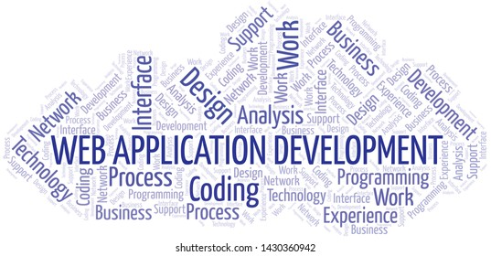 Web Application Development word cloud. Wordcloud made with text only.