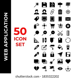 web application icon set include wand,save,direction,user,link,desktop,tablet,mobile,email,spray,signal,shopping,setting,search,zoom,cut,ruler,bookmark,reload,pencil,paint,medal,pen,lock,unlock