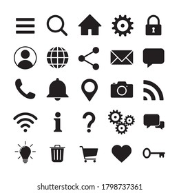 Web application interface icon collection. Vector symbol set. Search, home, settings, account, lock and info button sign. Cogwheel, magnify, wi-fi and user profile logo. Isolated on white background.