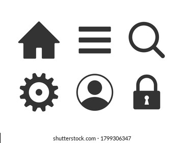 Web application interface icon collection. Vector symbol set. Menu, search, home, settings, account and lock button sign. Cogwheel, magnify and user profile logo. Isolated on white background.