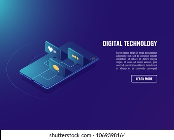 Web application and social media network icons, isometric vector mobile mesanger neon ultraviolet background