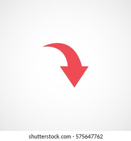 Web Arrow Down Red Flat Icon On White Background