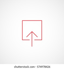 Web Arrow Upload Up Red Line Icon On White Background