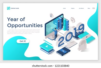 Web banner with 2019 number, man touching giant computer screen, books, planners. Year of opportunities in work organization and planning. Modern design template. Isometric vector illustration.