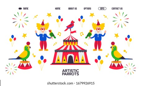 Web banner for artistic parrot, zoo circus with bird, clown vector illustration. Male character near circus tent. Contact us, about us, home, option button. Web site design template.