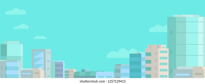 Web banner background. Panorama city and blue sky. Standard size. Place for text.